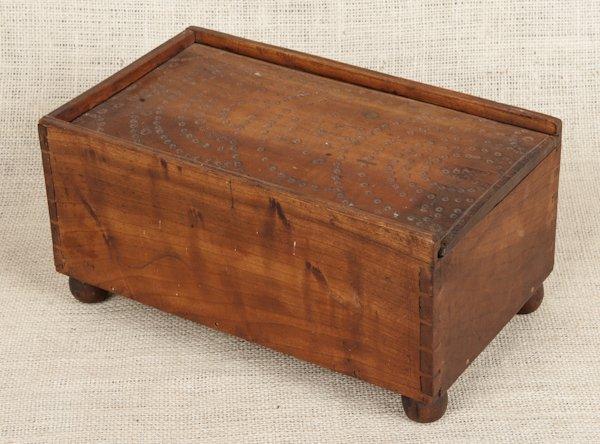 Pennsylvania cherry slide lid candlebox, ca. 1830