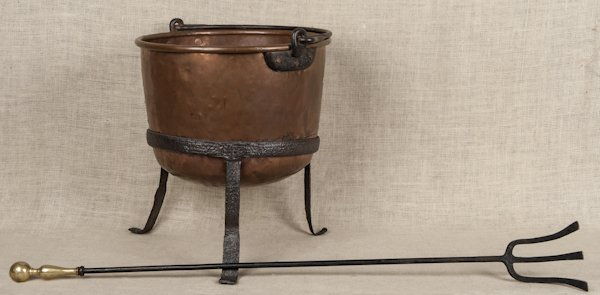 Twelve-gallon copper kettle with a wrought iron s