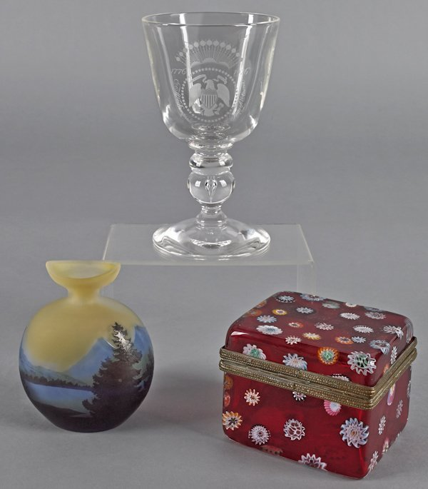 Galle cameo glass vase, 5'' h., together with a mi