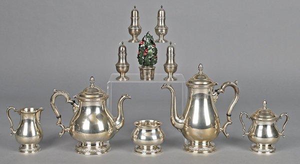 International sterling silver five-piece tea serv