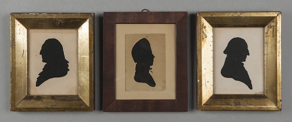 Three Peale's Museum hollow cut silhouettes, to i
