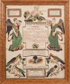 Four printed and hand colored birth and baptism c
