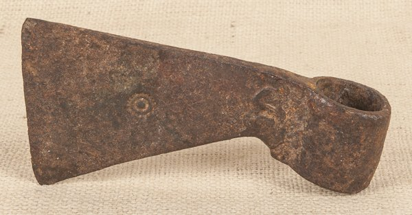 Early iron trade axe, 18th c., 7'' l.