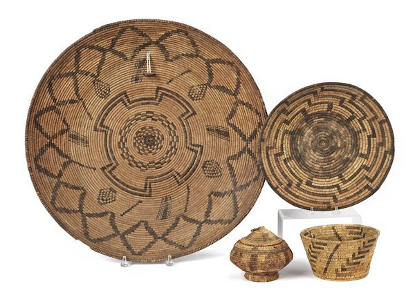 Massive Apache coiled basketry tray, ca. 1900, 23