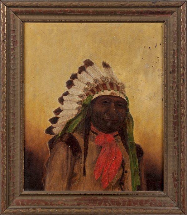 Oil on board portrait of a Native American chief,