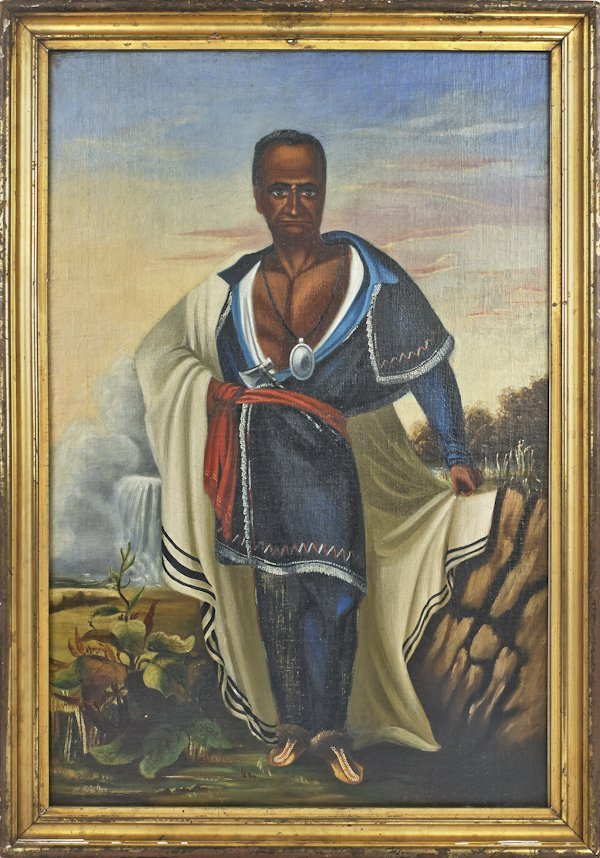 Oil on canvas portrait of a Native American chief