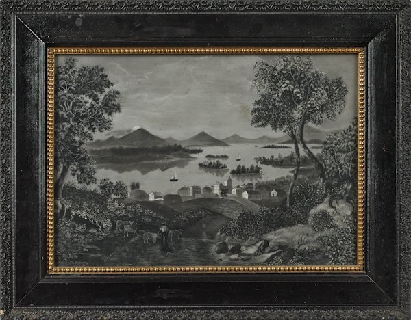 American sandpaper drawing, 19th c., probably of