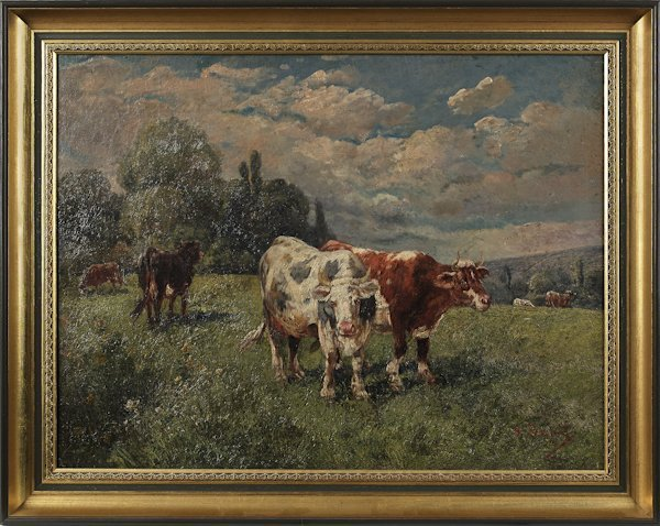 Oil on canvas landscape with cows, early 20th c.