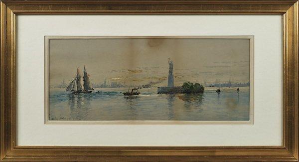 Watercolor New York cityscape, 8'' x 19 3/4''.