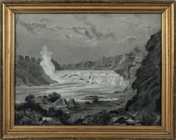 American sandpaper drawing of waterfalls, mid 19t