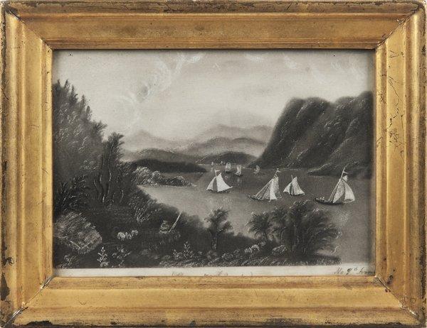 American sandpaper drawing of the Hudson River, 1