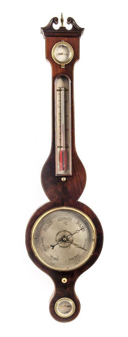 English mahogany banjo barometer, 19th c., 39'' h.