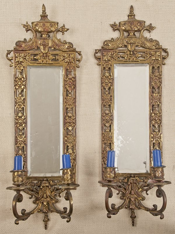 Pair of brass mirrored sconces, early 20th c., 23