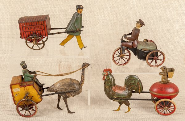 Four German tin lithograph wind-up toys, to inclu