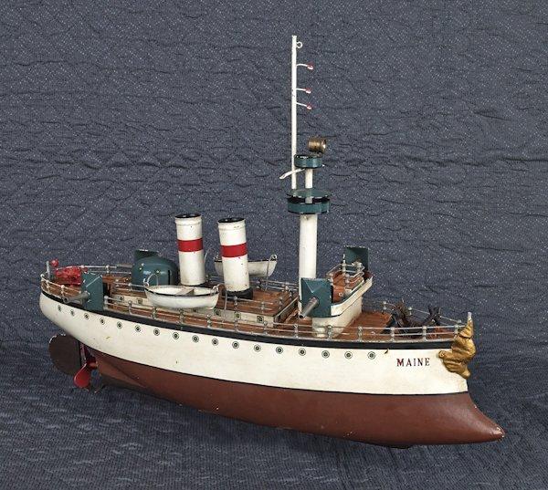 German Marklin painted tin battleship Maine, 20