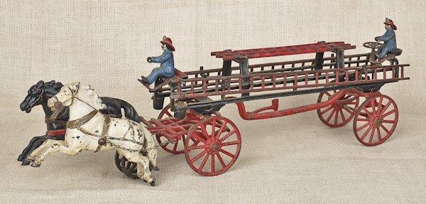 Carpenter cast iron horse drawn ladder truck, 24