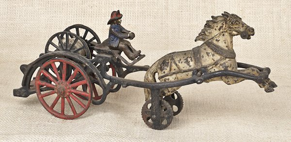 Carpenter cast iron horse drawn hose reel, 14'' l.