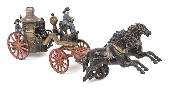 Carpenter cast iron horse drawn fire pumper, 18 1