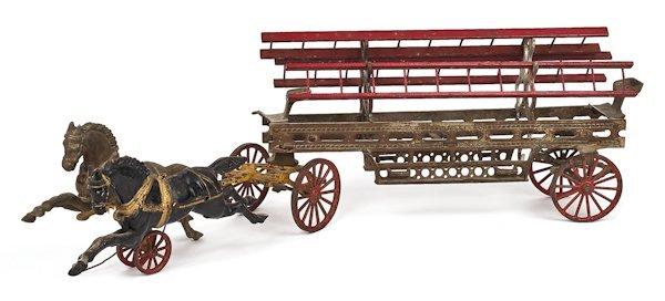 Cast iron horse drawn ladder truck, 26'' l.