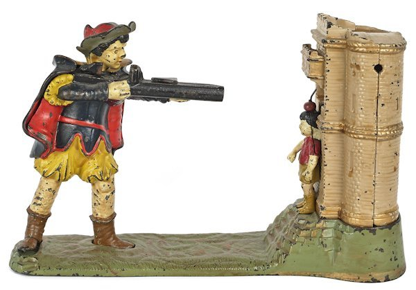 Cast iron William Tell mechanical bank manufactur
