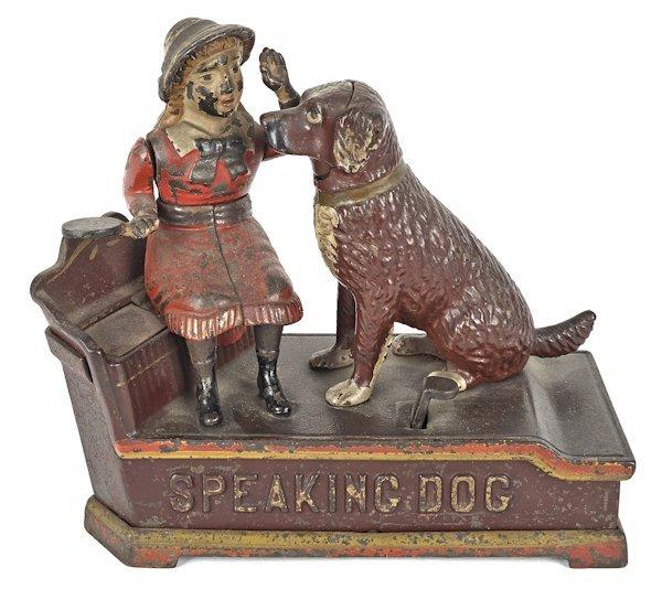 Cast iron Speaking Dog mechanical bank manufact