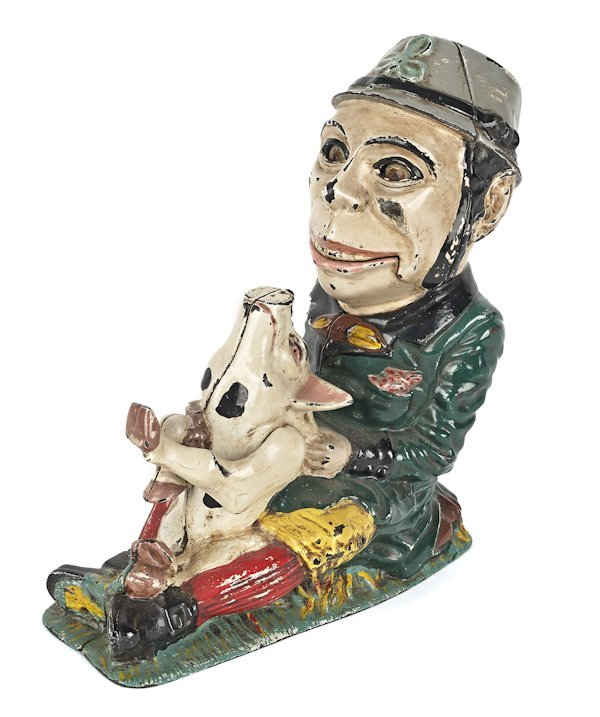 Cast iron Paddy and the Pig mechanical bank man