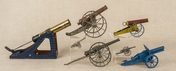Five tin cannons, longest - 14'', together with tw