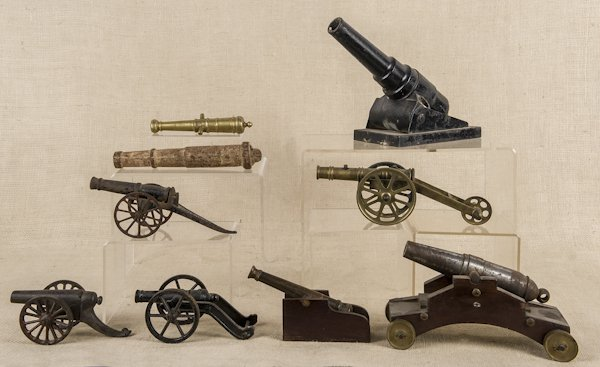 Collection of nine iron and brass cannons, longes