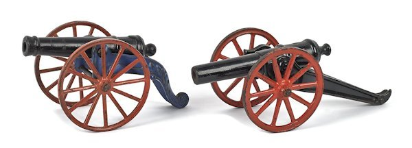 Two cast iron cannons, barrel lengths - 7'' and 7
