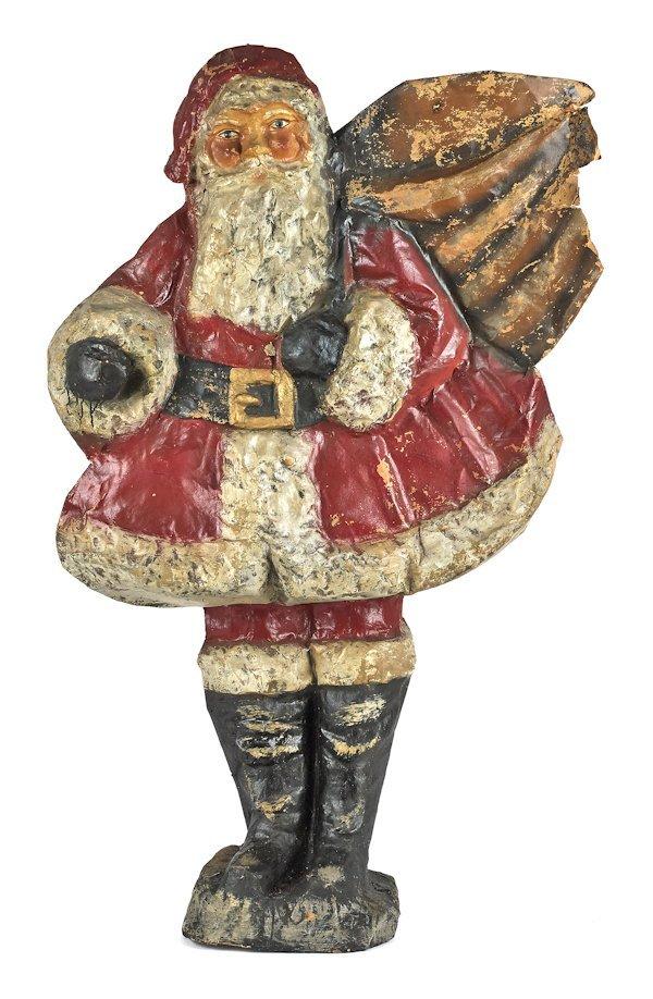 Large pressed cardboard Santa Claus figure, 57 1/