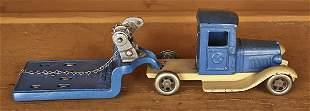 Kilgore cast iron low boy machinery hauler, 12 1/