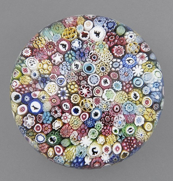 Baccarat close pack millefiori paperweight with Z