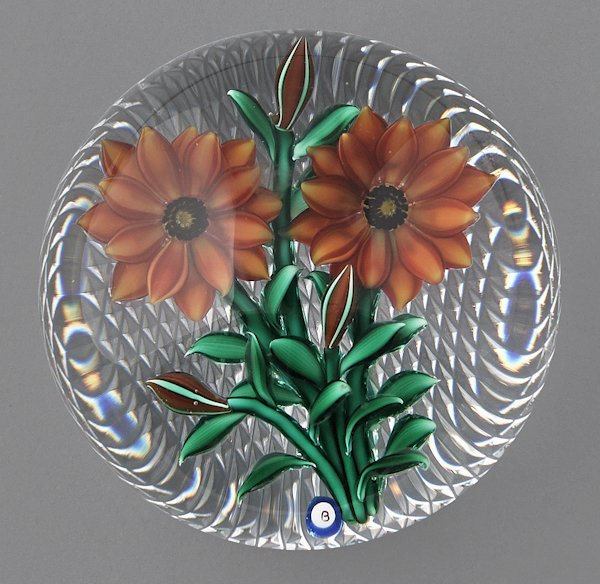 Bob Banford paperweight with two orange mums and