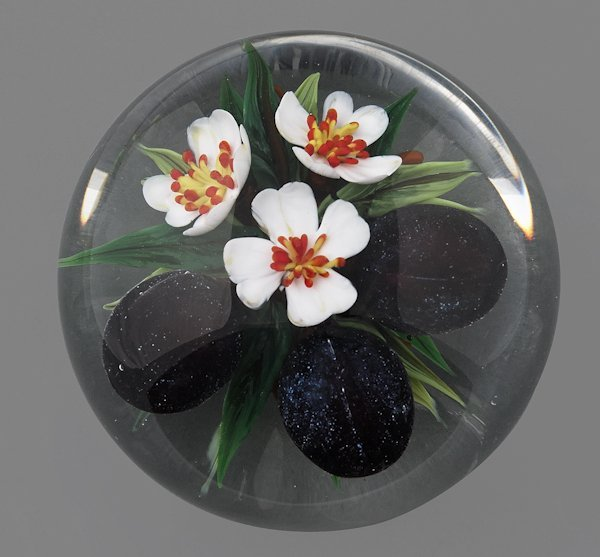 Rick Ayotte plum paperweight, signed and inscribe