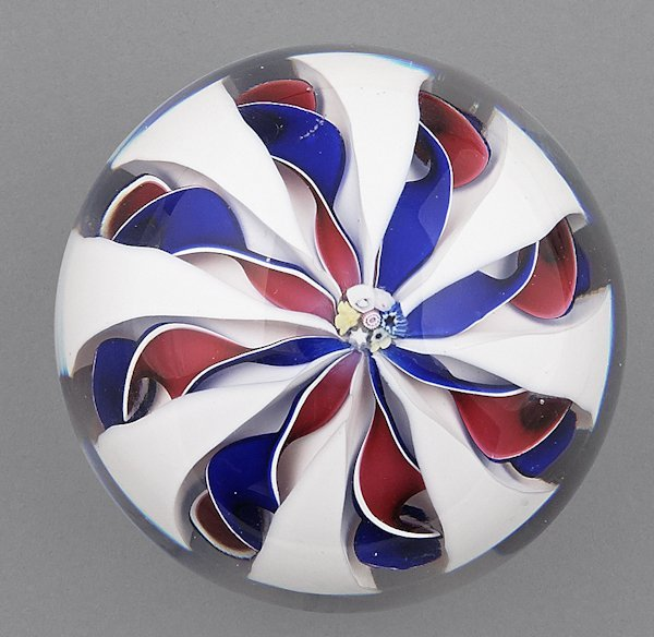 Fred Aubrit red, white, and blue crown paperweigh