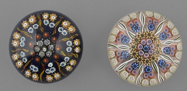 Two nine-sector concentric millefiori paperweight
