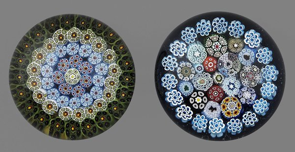 Jim Hart concentric millefiori paperweight, toget
