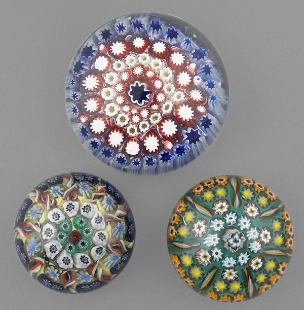 Two millefiori sector paperweights, probably Stra