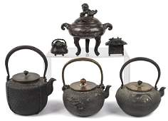 Japanese bronze censor together with three Japan