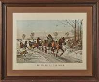 Currier and Ives color lithograph titled The Fi