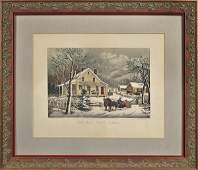 Currier and Ives color lithograph titled The Ol