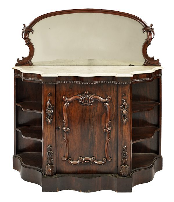 Victorian rosewood sideboard with a marble top an