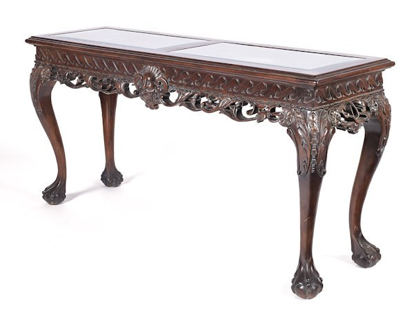 Georgian style carved mahogany console table, 32''