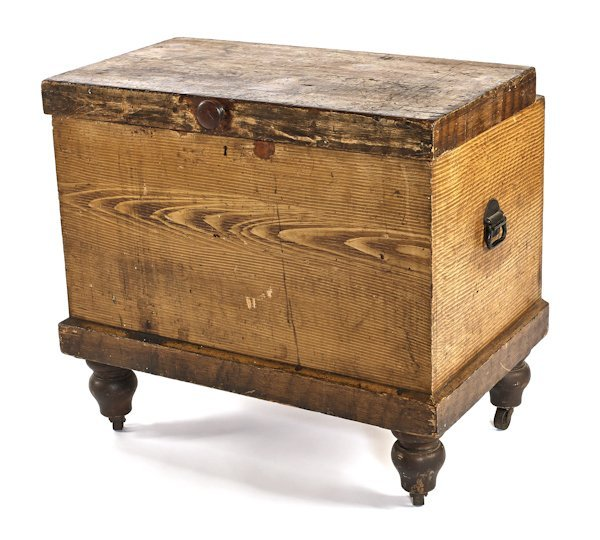 Massachusetts painted pine ice chest, 19th c., by