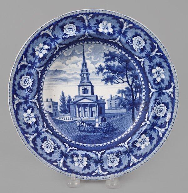 Historical blue Staffordshire Octagon Church, Bo