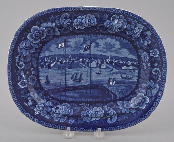 Historical blue Staffordshire Baltimore platter,