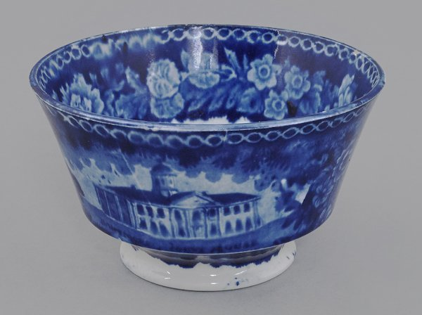 Historical blue Staffordshire Baltimore Court Ho