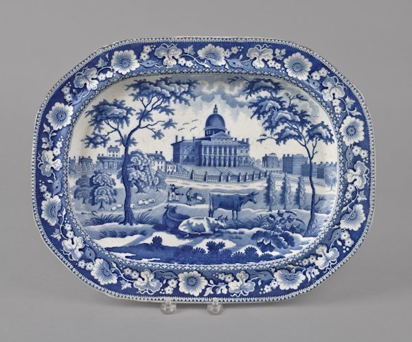 Historical blue Staffordshire Boston State House