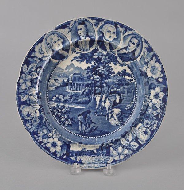 Historical blue Staffordshire Niagara medallion