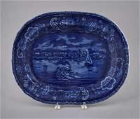 Historical blue Staffordshire Detroit platter, 1